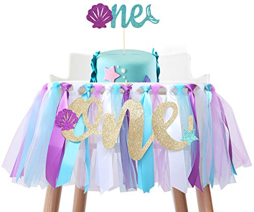 Baby Mermaid Skirt for 1st Birthday - Party Supplies for Highchair Tutu Skirt, First Birthday with One Pennant,Cake Topper for Birthday Party Supplies Baby Shower (Mermaid Birthday Set)