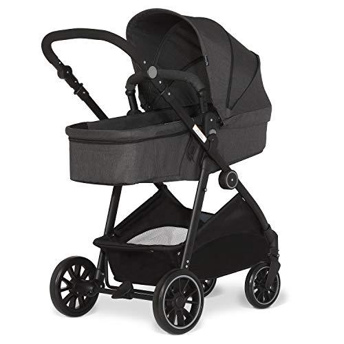 Dream On Me Jade 2-in-1 Reversible Stroller | New Born Bassinet Stroller | Compact Fold | Lightweight Stroller 0-36 Months, Black