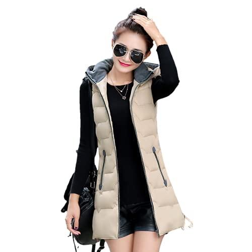 Tekaopuer Chaleco con capucha para mujer, cálido chaleco de invierno con cremallera acolchada con capucha, chaleco sin mangas, Z2-beige, 3XL