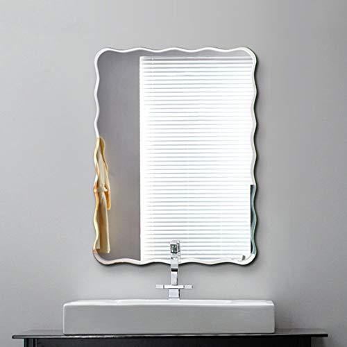 Espejo de tocador de baño Wave sin Marco, Espejo de Media Longitud para Dormitorio/Sala de Estar/Pasillo montado en la Pared (45x60cm / 50x70cm / 60x80cm)