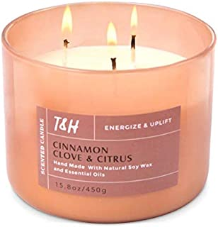Long Lasting Large 3 Wick Candle | Highly Scented Cinnamon Clove And Citrus Aromatherapy Candles For Relaxation | 16 Oz Ca...