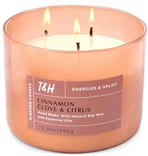 Long Lasting Large 3 Wick Candle | Highly Scented Cinnamon Clove And Citrus Aromatherapy Candles For...