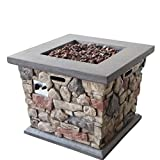 Christopher Knight Home Carson Outdoor Square Fire Pit - 40,000 BTU, Stone Finish