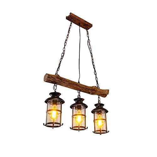 Colgante Luz Lámpara colgante de madera de época Creativo Rústico Araña industrial Clásico Retro Lámpara de keroseno Colgante de techo Iluminación Restaurante antiguo Lámpara colgante E27 Zócalo XYJGW