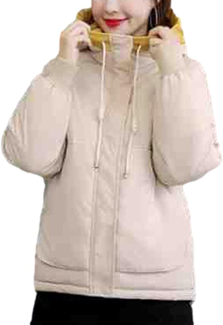PUWEI Women's Crop Parka Hooded Down Jacket Winter Thickened Waterproof Puffer Coat