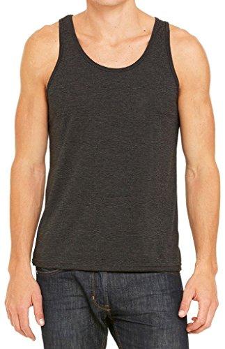 Men's Yoga Tank Top, XL Charcoal Black Triblend