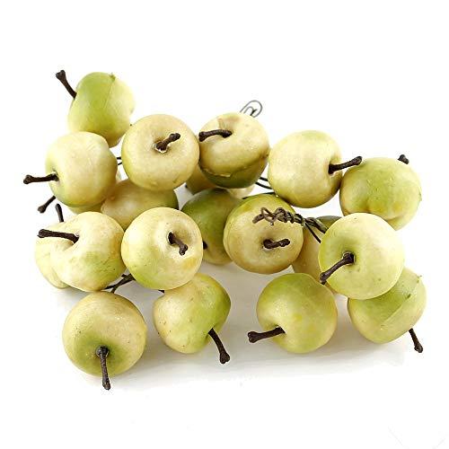 TGG Lot de 20 pommes décoratives sur fil de fer - Petites 3 cm - Dans une boîte - Couleur : vert crème.