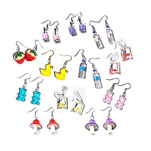 Y2K - Juego de pendientes de mariposa, antialérgicos, juego de aretes de aro para niñas, divertidos y lindos pendientes de pato de gomita, para niñas