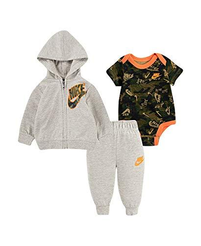 Nike Conjunto de 3 piezas de camuflaje para bebé, pantalones de correr, chaqueta con cremallera y body - - 9 meses