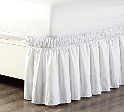 "Wrap Around 17"" inch fall Solid Ruffled Elastic Bed Skirt 1500 Series Gold Crown Collection High Thread Count Microfiber Dust Ruffle, Silky Soft & Wrinkle Free. Twin, Full, Queen, King and Cal King"