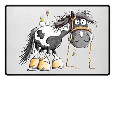 Happy Pinto Pferd Comic I Schecke Tinker I Modartis Pferde I Pony I Reiter Geschenk - Fußmatte -60x40cm-Weiß