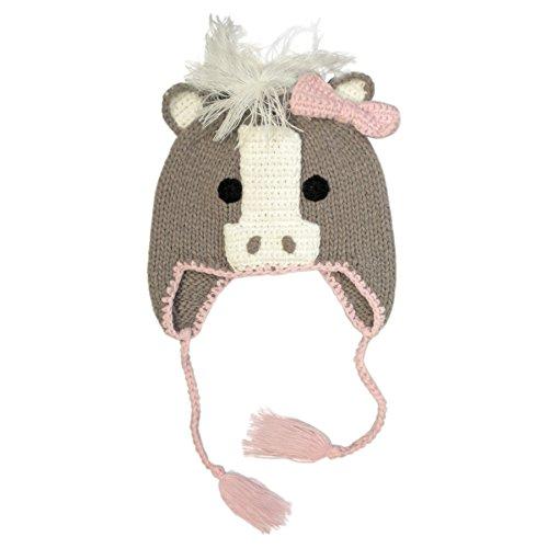 Huggalugs Girls Pony Horse Knit Beanie Hat L