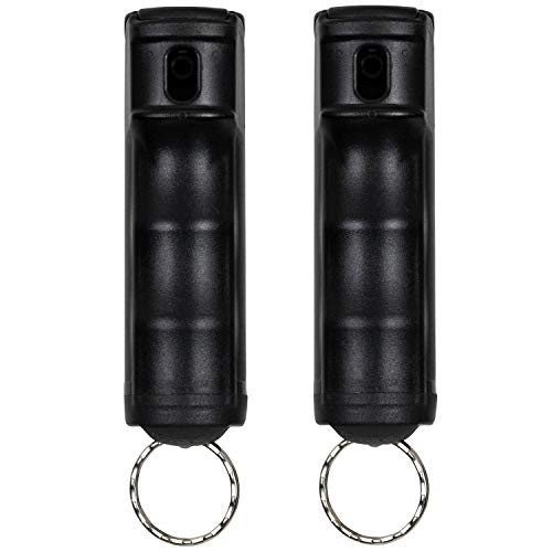 POLICE MAGNUM Pepper Spray Keychains - Max Strength 12ft Range OC Spray - 2 Pack 1/2oz Flip Top Cases Prevent Accidental Discharge (Black)