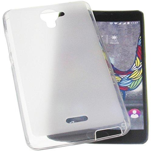 foto-kontor Tasche für Wiko U Feel Fab Gummi TPU Schutz Handytasche transparent weiß