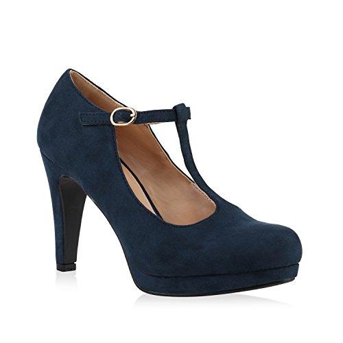 Damen Pumps T-Strap Spitze High Heels Riemchenpumps Stilettos Zierperlen Nieten Blockabsatz Schuhe 139749 Blau Schnalle 37 Flandell