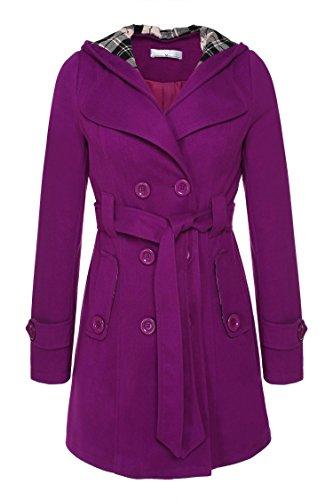 ANGVNS Damen Mantel, Einfarbig Gr. Medium, violett