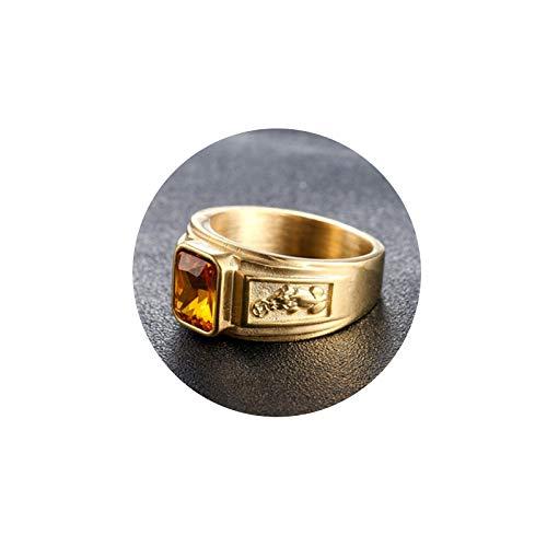 ROMQUEEN Ring Herren Name Edelstahl Ring Für Männer Kupfermünzen,Gold Champagne,Ringgrößen 62 (19.7)