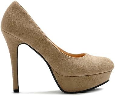 Ollio Women's Shoe High Heel Platform Faux Suede Multi Color Pump
