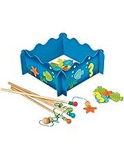 """small foot 8196 fiskespel """"SeeWelen"""" av trä, magnetspel med fiskedynor, fyra fiske och fiske, från 3 år"""