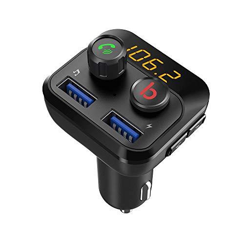 Auto FM Transmitter, VASTFAFA Bluetooth FM Transmitter Adapter, unterstützt Siri Google Assistent USB Drive TF Karte Handsfrei Sprechen