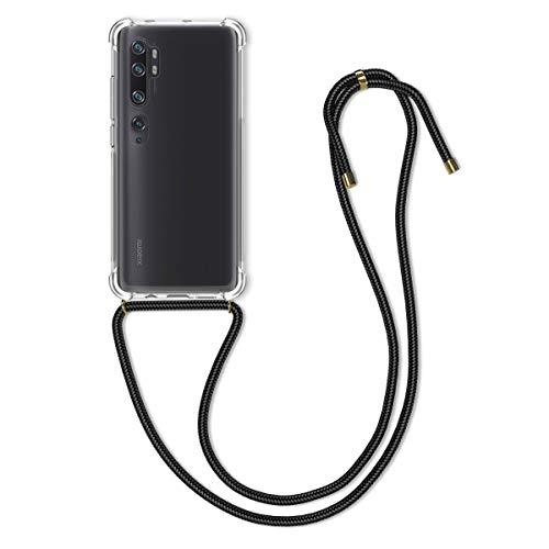 kwmobile Hülle kompatibel mit Xiaomi Mi Note 10 / Note 10 Pro - mit Kordel zum Umhängen - Silikon Handy Schutzhülle Schwarz Transparent