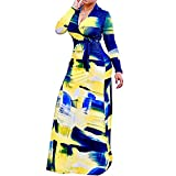 Aublary Long Sleeve Maxi Dresses for Women Sexy V Neck Floral Printed Party Loose Long Maxi Dress with Belt, 1 Yellow-Blue XL
