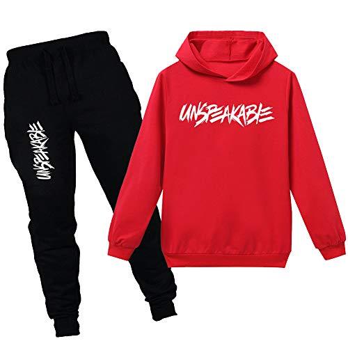 amropi Ragazzi 2 Pezzi Abbigliamento Set Tuta Felpa con Cappuccio e Jogging Pantaloni (Rosso Nero,11-12 Anni)