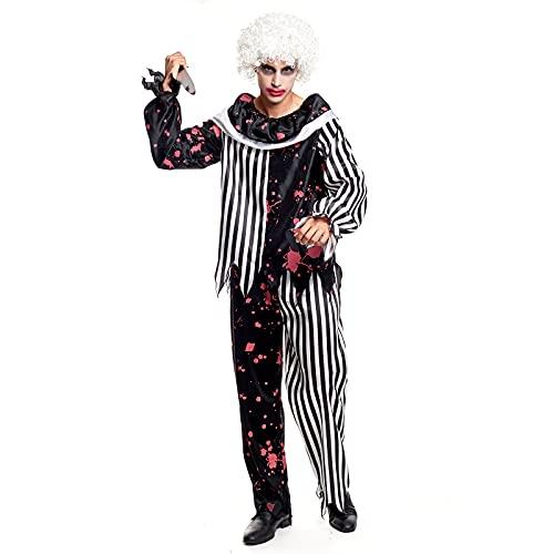 Disfraz Payaso Asesino Adulto [Talla M]Tallas S a LTraje Clown Rayas Negras Ensangrentado Halloween Disfraces Halloween para Hombre