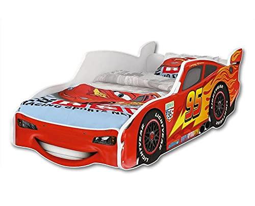 GLOBAL Zig Zag Lightning McQueen Cama infantil diseño coche de carreras 140x70 cm