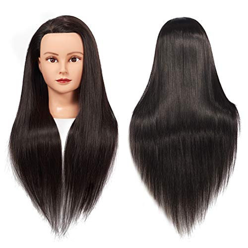 Training Head 26'-28' Mannequin Head Hair Styling Manikin Cosmetology Doll Head Synthetic Fiber Hair Hairdressing Training Model Free Clamp (1711LB0220)