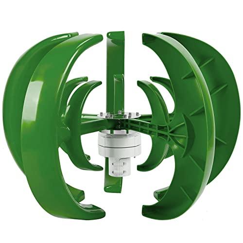 Generador de turbina eólica,Kit de turbina eólica de 800W Tipo de linterna verde Linterna de doble capa Ejes verticales Generador de energía de 5 cuchillas Aleación de acero Plástico Generación de