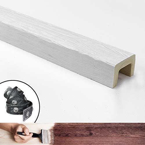 Balken aus Kunstholz, 4 Meter Maße 9 x 6 cm (Material Polyurethan, besser als Polystyrol) + 1 Gürtel/Halterung aus Kunsteisenimitat. Farbe weiß lackierbar. Echtes Holz-Effekt (ED 107)