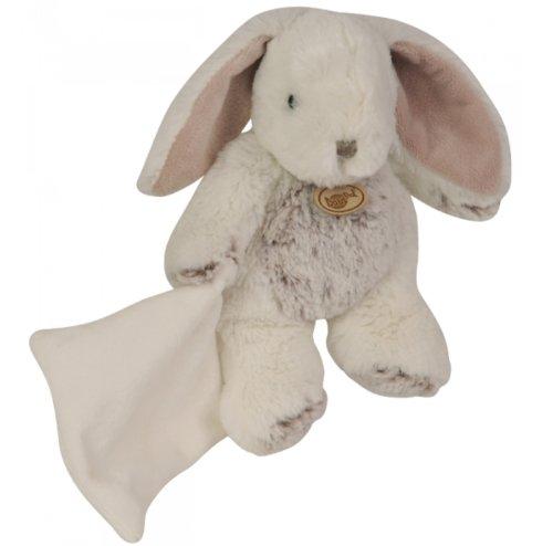 Babynat - Pantin Les Flocons - Doudou Lapin blanc chiné gris brun avec mouchoir - Peluche 22 cm