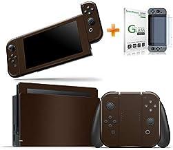 Kit Skin Adesivo Protetor Nintendo Switch + Película de Vidro (Marrom)