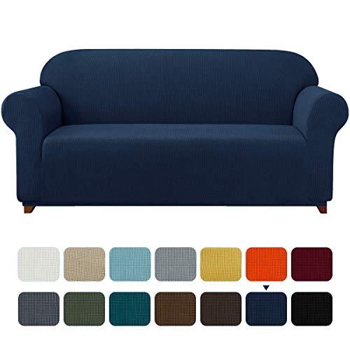 subrtex Sofabezug für 4 Personen Big Sofa Stretch Sofahusse 4sitzer Elastisch überzug für XL Sofa mit Armlehne Abwaschbar (4 Sitzer, Dunkelblau)