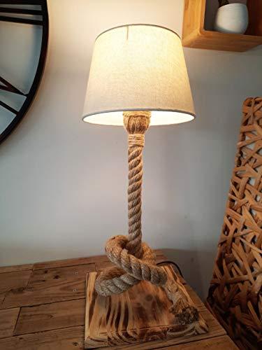Solenzo – Lámpara de noche de madera y cuerda – Pantalla de color crema – con bombilla LED incluida – Fabricación francesa