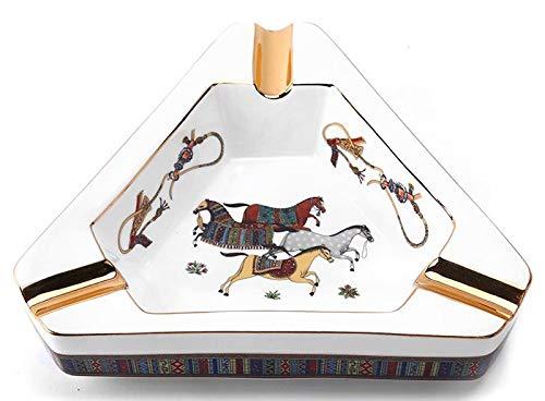THMY Cenicero para cigarros, cenicero de Escritorio para el hogar de cerámica Triangular Pintada