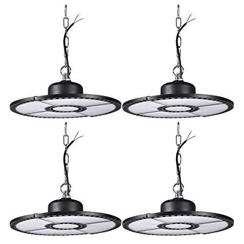 BAM - Store Luces industriales comerciales LED de 300 W, UFO High Bay Light 24000LM, 6500K Accesorios de iluminación de Garaje Blancos, Lámpara Colgante de Taller con Cadena Colgante,4 Pack