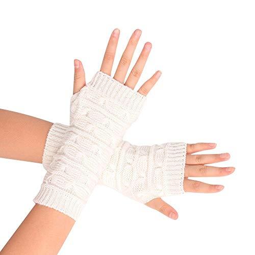 JFCUICAN Handschuhe Handschuhe Art und Weise gestrickte Arm Fingerless Winterhandschuhe Unisex-weiche warme Fäustling Qualitäts-Wollhandschuhe (Color : Weiß, Gloves Size : One Size)