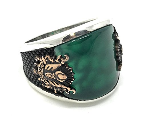 KAR 925K Stamped Sterling Silver Emerald Agate Coat of Arms Ottoman Men's Ring K6B (9.5)