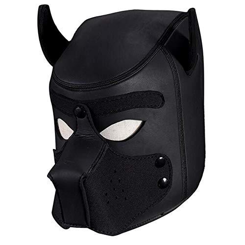 Ojos abiertos Máscara de cuero negro capucha cara completa cubierta ropa