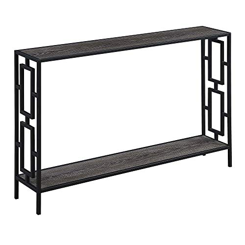Convenience Concepts Town Square Metal Frame Console Table, Cherry/Black