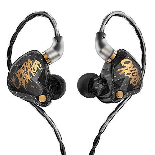 KBEAR OS1PRO Auriculares in Ear para Músicos, Auriculares HiFi con Sonido Estéreo Impulsado por Graves, Cancelación de Ruido, Cable Desmontable de 2 pines, (Negro, con Micrófono)