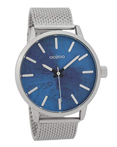 Oozoo Herrenuhr mit Metallband 45 MM Türkis/Silberfarben C9656