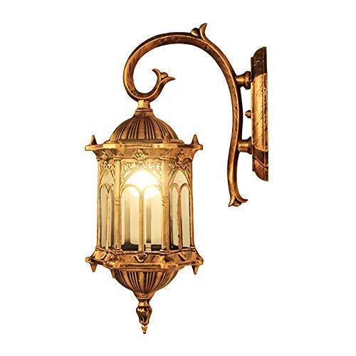 Rustikale Außen-Wandleuchte, Wandlaterne für den Außenbereich, IP65 Wasserdichte Wandlampe, 4-seitig Glas Lampenschirm, Alu, E27, Max.60W, Gold, für Terrasse Garten Weg Terrasse (1-Flammig)