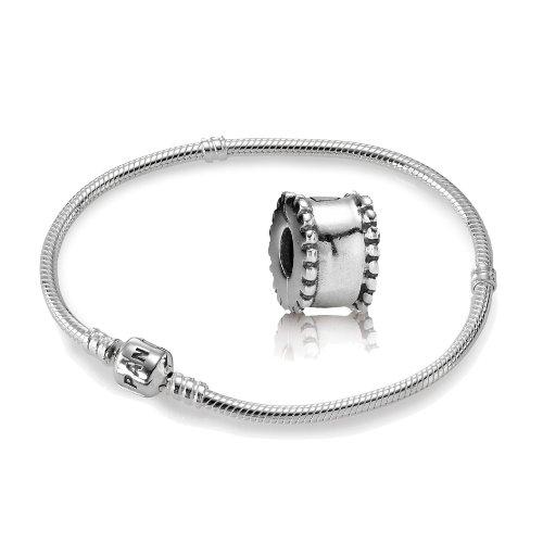 Original Pandora Geschenkset Starterset - 1 Silber Armreif 590702HV-19 + 1 Silber Clip 790267 Doppelkranz