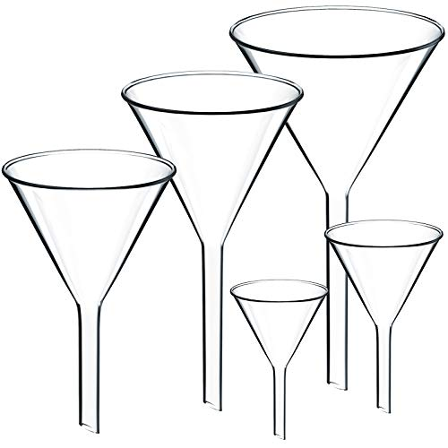 Teenitor Set of 5 Glass Funnels Diameter 30mm 40mm 50mm 65mm 75mm