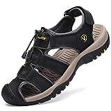 FLARUT Sandali Estivi Uomo Esterni PelleTraspirante Sandali Sportivi Scarpe da Trekking Passeggiata Fisherman Casual Sneakers Antiscivolo(Nero,40)