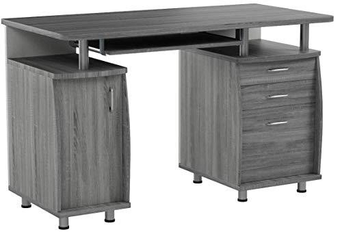 Techni Mobili Complete Workstation Computer Desk with Storage. Color: Grey