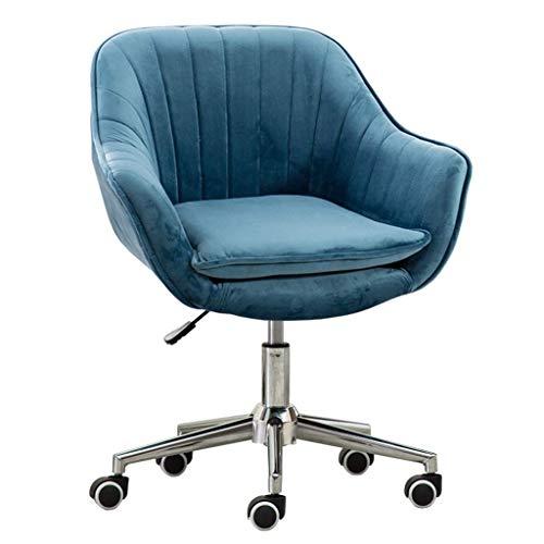 QQXX Home Office draaistoel computer Task Desk Office Modern Velvet Elastic Sponge gewatteerd ergonomisch in hoogte verstelbaar, 45x46-58cm, blauw